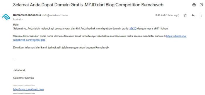 Email pemberitahuan pemenang domain Rumahweb